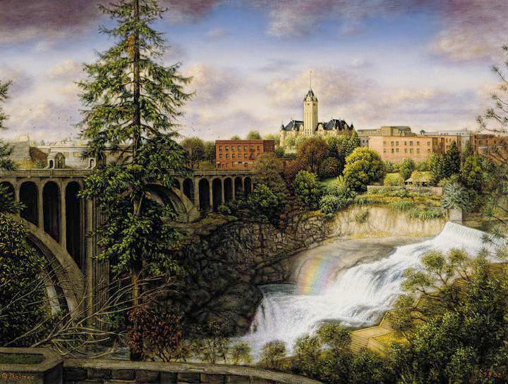 oil painting, Spokane River, Melville Holmes