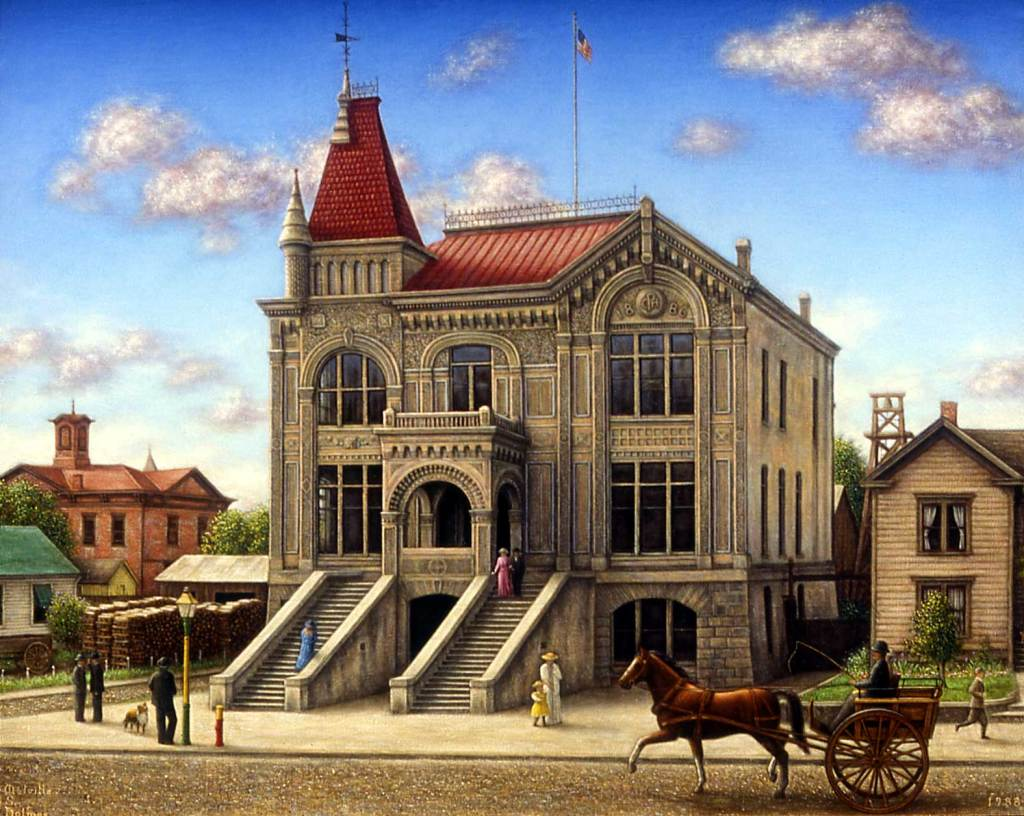 oil painting, Petaluma, city hall, Melville Holmes