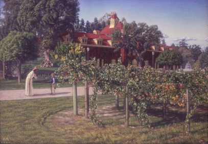 Inglenook vineyards, oil painting, Melville Holmes
