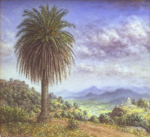 oil painting, landscape, palm, Melville Holmes