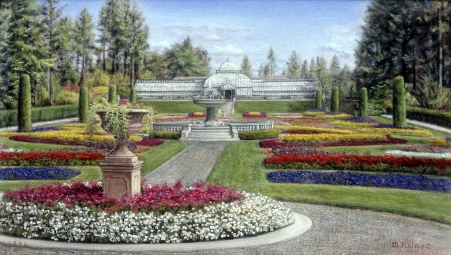 oil painting, Duncan Garden, Manito Park, Melville Holmes