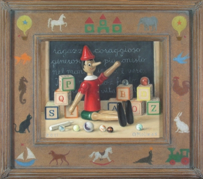Painting commission: Still life with wooden toys and hand decorated frame.