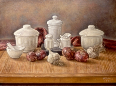 Still-life with porcelain and garlic, Holmes 1991
