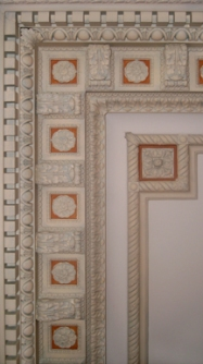 Ceiling detail of Marie Antoinette Ballroom after renovation.