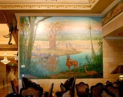 Davenport Hotel Tower, mural, African, jungle, interior decor