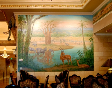 Davenport Hotel Tower, mural, African, jungle, interior decor