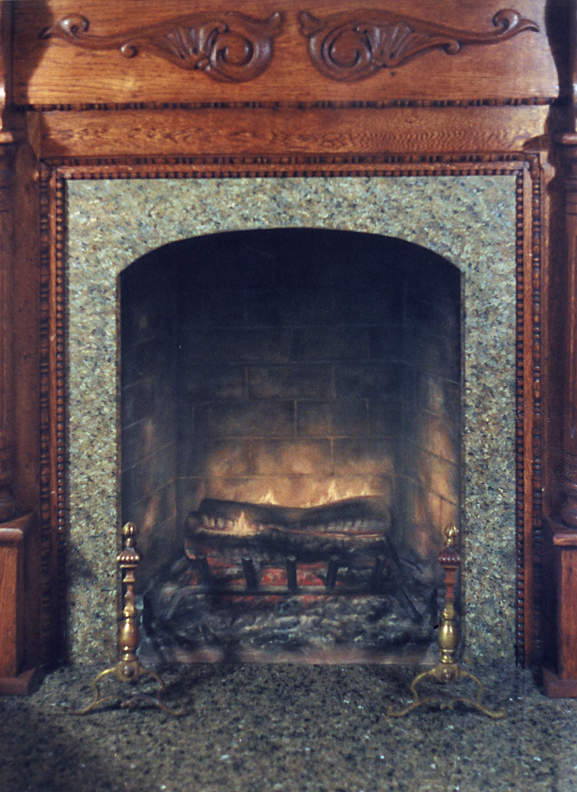 Painting commission for residence: Trompe l'oeil treatment for fireplace with faux the fire and faux granite