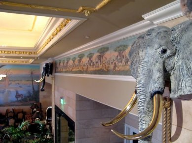 Installed frieze in the lobby of the Davenport Tower Hotel. Designed by Melville Holmes, hand carved and cast in plaster by Petr Shiva. Polychromed by Melville Holmes and assistants.