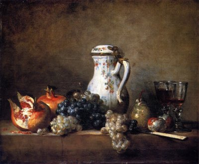 Jean-Baptiste-Simeon-Chardin-xx-Grapes-and-Pomegranatest-xx-Louvre